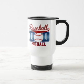 Custom Blue/Red Baseball Dad Travel Mug