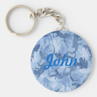 Custom Blue Reptile Camouflage Key Chain