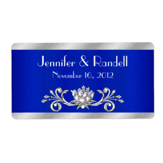 Custom Blue & Silver Mini Wine Bottle Label Shipping Label