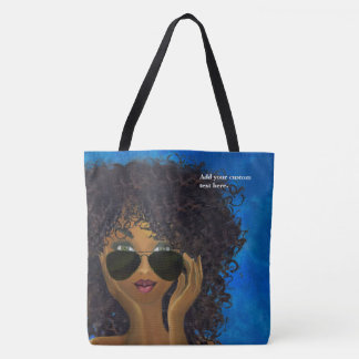 Custom Blue Sorority Black Art Tote Bag