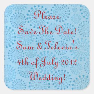 Custom Blue Stars with Red Wedding Sticker Label