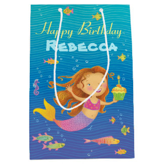 Custom Blue, Turquoise and Pink Mermaid Gift Bag