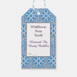 Custom Blue White Faux Cornflower Tile Soap Tag