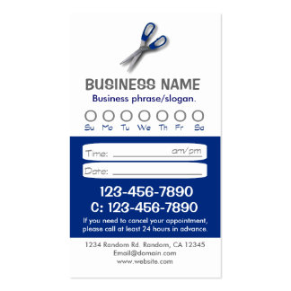Custom blue white hair appointment cards business card