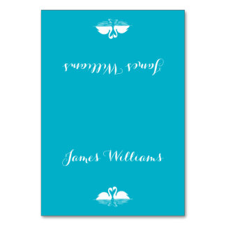 Custom Blue White Wedding Place Cards With Swans Table Card