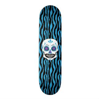 Custom Blue Zebra Print Blue Candy Skull Deck Custom Skate Board