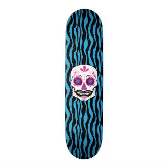Custom Blue Zebra Print Pink Candy Skull Deck 21.3 Cm Mini Skateboard Deck