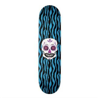 Custom Blue Zebra Print Purple Candy Skull Deck Skateboard Decks