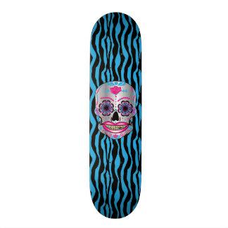 Custom Blue Zebra Print Rose Candy Skull Deck 20.6 Cm Skateboard Deck