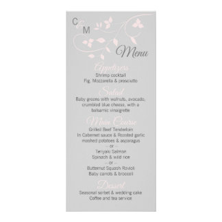 Custom Blush Pink & Grey Vine Wedding MENU