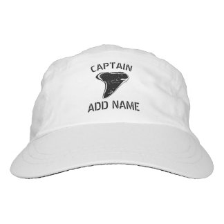 Custom boat captain hat with shark tooth logo