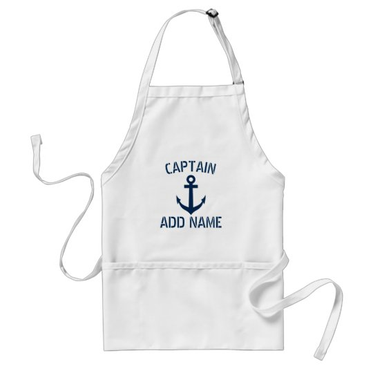Custom boat captain name anchor BBQ apron for