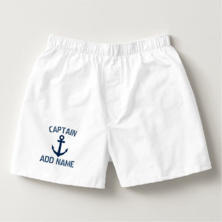 Custom boat captain name navy anchor boxer shorts boxers