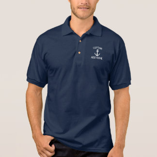 Custom boat captain name navy anchor polo shirt