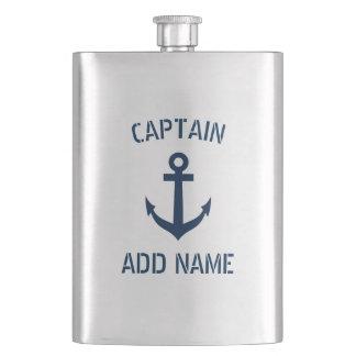 Custom boat captain name navy anchor steel flask
