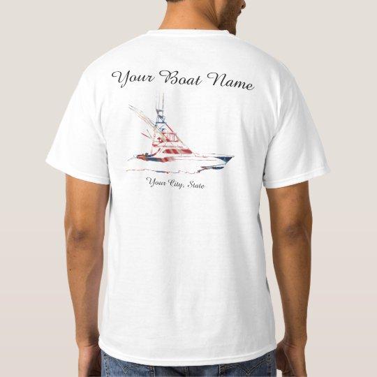 Custom Boat Name patriotic Sport fishing Boat T-Shirt