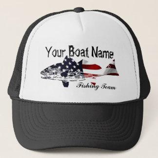 Custom Boat Name Red Bass trucker hat