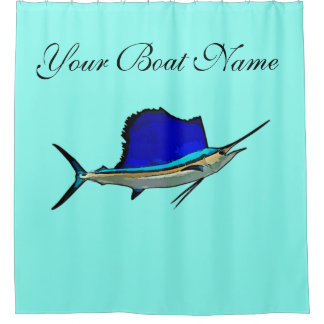 Custom Boat Name Sailfish Shower Curtain