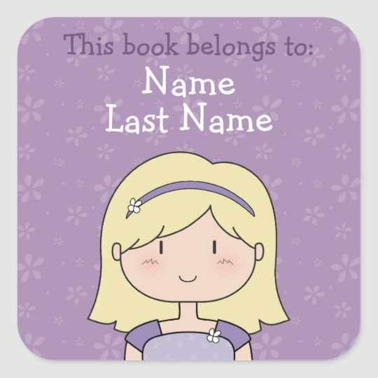 Custom book plates (blonde girl) square sticker