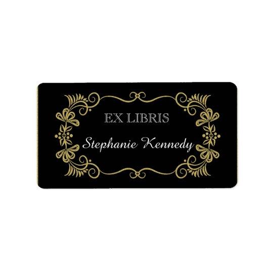 Custom Bookplates | Gold Floral Frame On Black Label