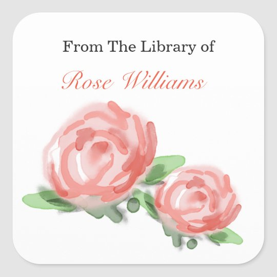 Custom Bookplates - Roses Watercolors Square Sticker