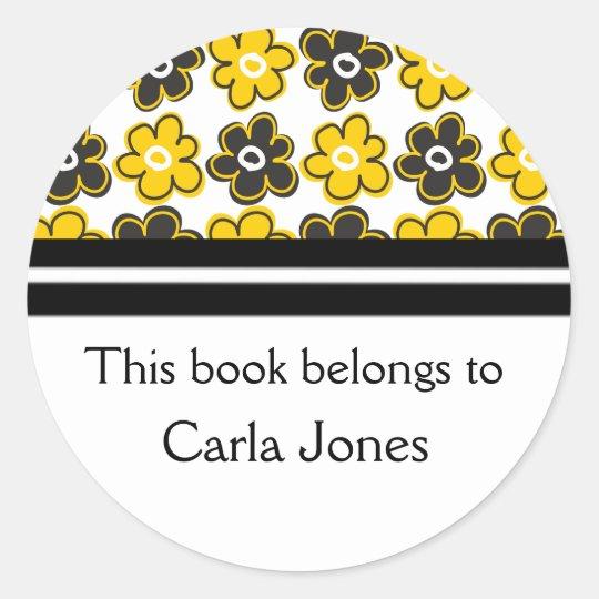 Custom Bookplates|Yellow Black Retro Flowers Classic Round Sticker