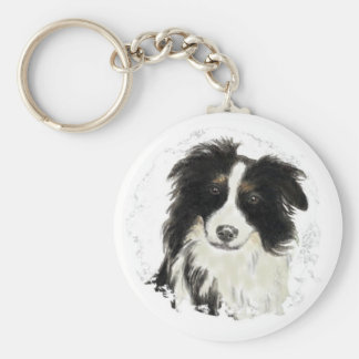 Custom Border Collie - Dog Collection Basic Round Button Key Ring