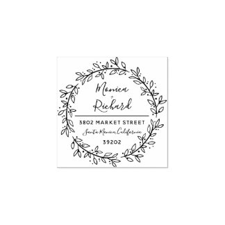Custom Botanical Wreath Wedding Return Address Rubber Stamp