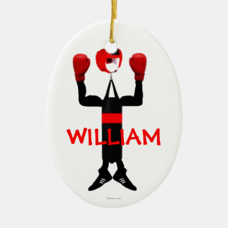 Custom Boxer Cartoon Christmas Ornament