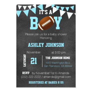 Custom Boy Chalkboard Football Theme Baby Shower Card