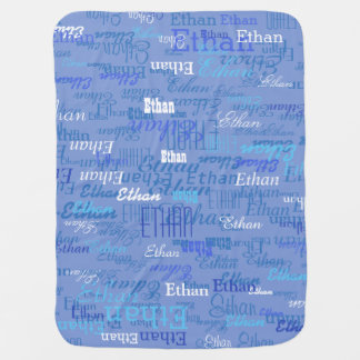 custom boy color names, personalized blue pram blanket