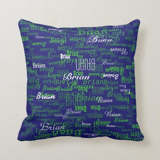 custom boy colour names, personalised navy green cushion