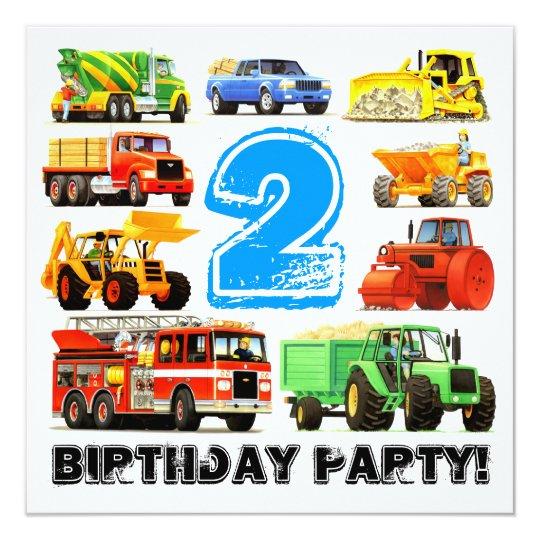Custom Boy's 2nd Birthday Construction Truck Party Card