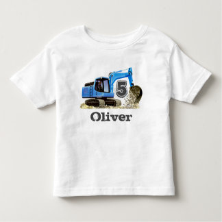 Custom Boy's 5th Birthday Blue Digger Excavator Toddler T-Shirt