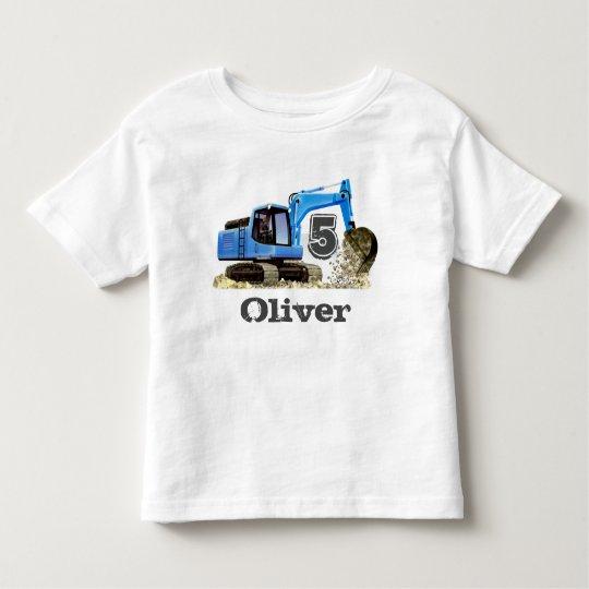 Custom Boy's 5th Birthday Blue Digger Excavator Toddler