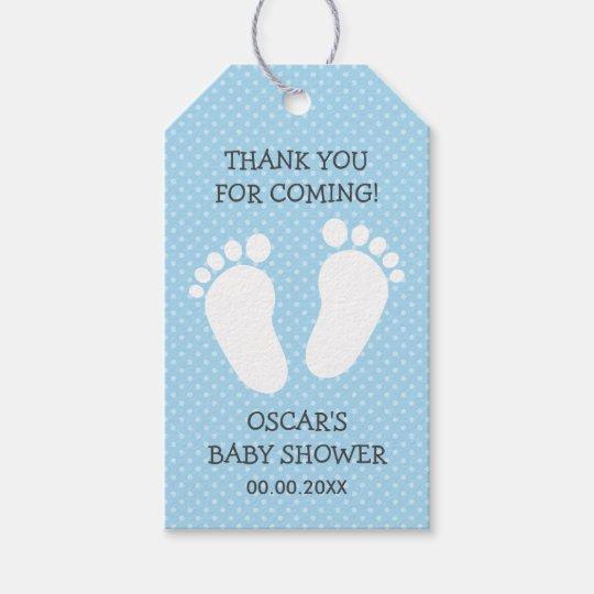Custom boys baby shower thank you footprints steps