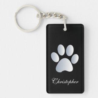 Custom boys name dog paw print in silver & black Double-Sided rectangular acrylic key ring