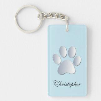 Custom boys name dog paw print in silver & blue Double-Sided rectangular acrylic key ring