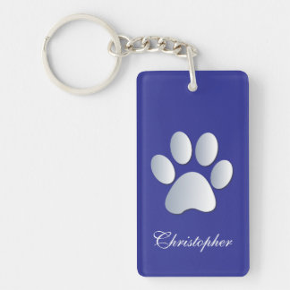 Custom boys name dog paw print in silver & blue key ring
