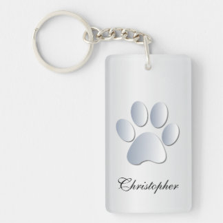 Custom boys name dog paw print in silver, gift Double-Sided rectangular acrylic key ring