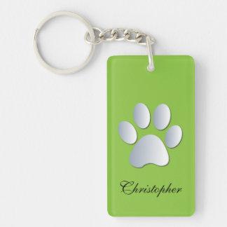 Custom boys name dog paw print in silver & green Double-Sided rectangular acrylic key ring