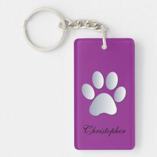 Custom boys name dog paw print in silver & purple Double-Sided rectangular acrylic key ring