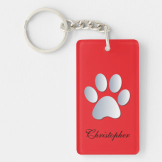 Custom boys name dog paw print in silver & red Double-Sided rectangular acrylic key ring