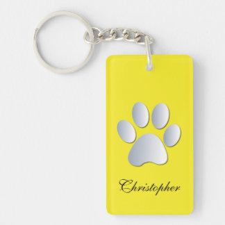 Custom boys name dog paw print in silver & yellow Double-Sided rectangular acrylic key ring