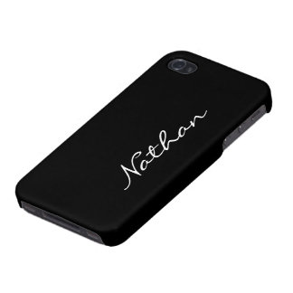 Custom boys name initial letter N black stylish iPhone 4/4S Case