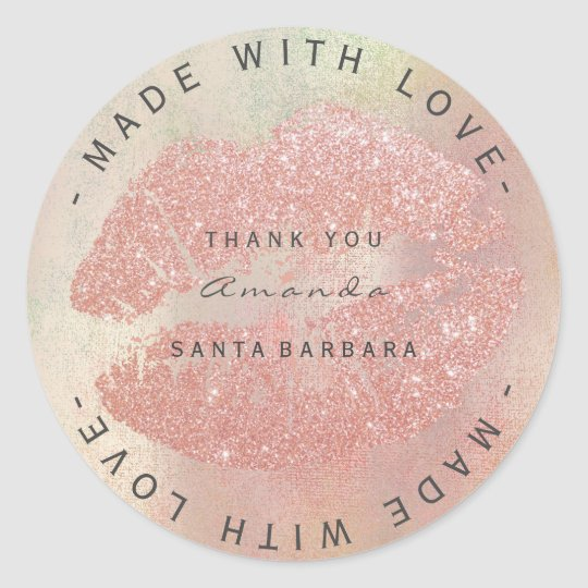 Custom Branding Thanks Kiss Rose Gold Lips WWW