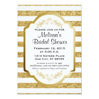 Custom Bridal Shower Invitation, Gold Stripes Card