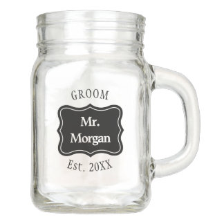 Custom bride and groom wedding mason jar mugs