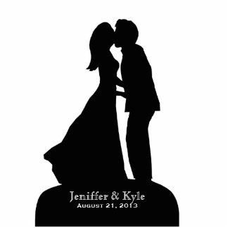 Custom Bride & Groom Silhouette Kissing Wedding Standing Photo Sculpture