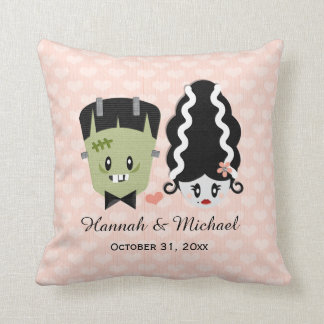 Custom Bride of Frankenstein and Monster Wedding Cushion